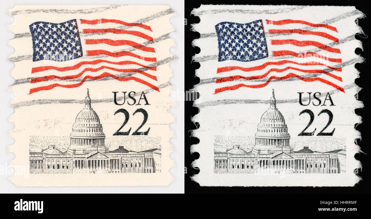 usa, america, stamp, postmark, historical, isolated, closeup, famous, vintage, - Stock Image