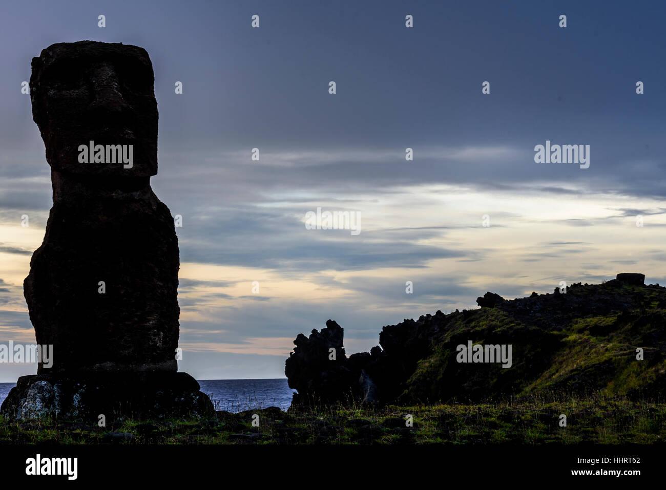 Sunset on Ahu Hango Kio'e , Hanga Roa, easter Island , Chile. - Stock Image
