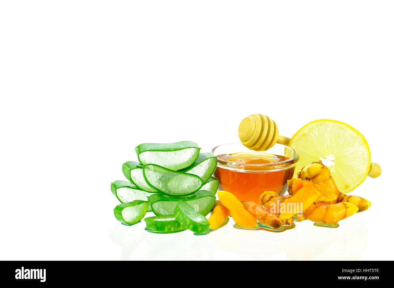 Asian skincare therapy from nature with aloe vera gel, curmin, lamon juice and honey. - Stock Image