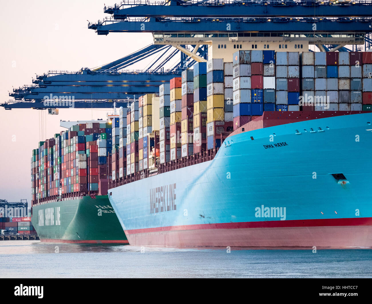 Port of Felixstowe International Trade UK - Ships being loaded and unloaded at Felixstowe, UK's largest container - Stock Image