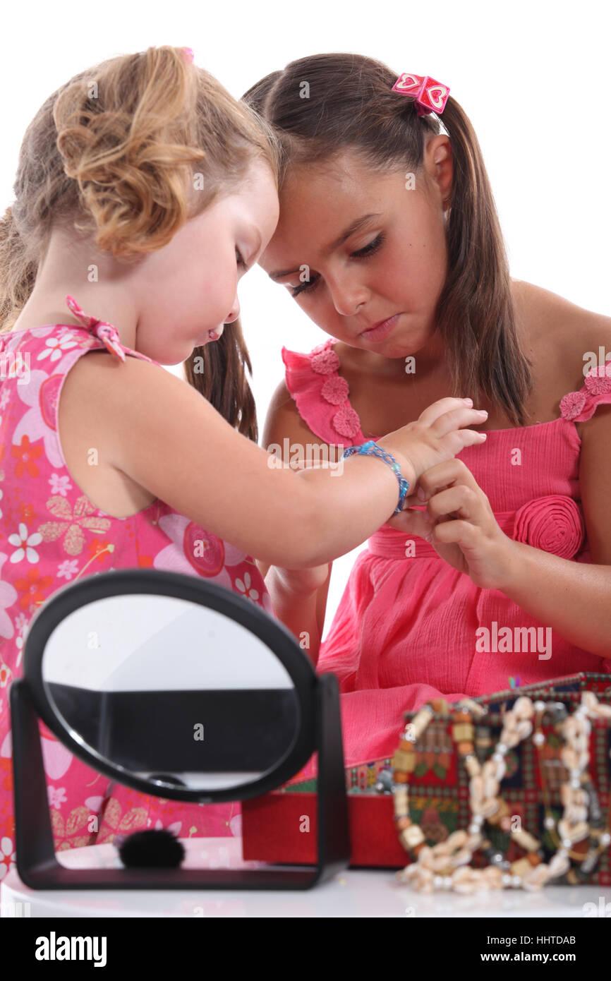 jewelry, jewellery, small, tiny, little, short, girl, girls, child, children, - Stock Image