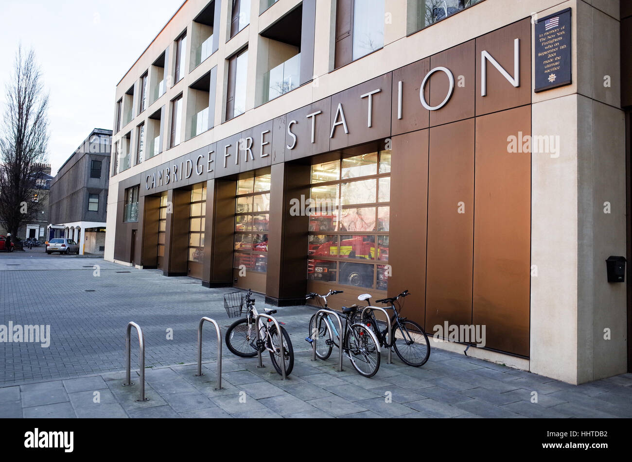 Cambridge Fire Station - Opened 2013 - redeveloped in partnership between the Fire Authority and urban developers - Stock Image