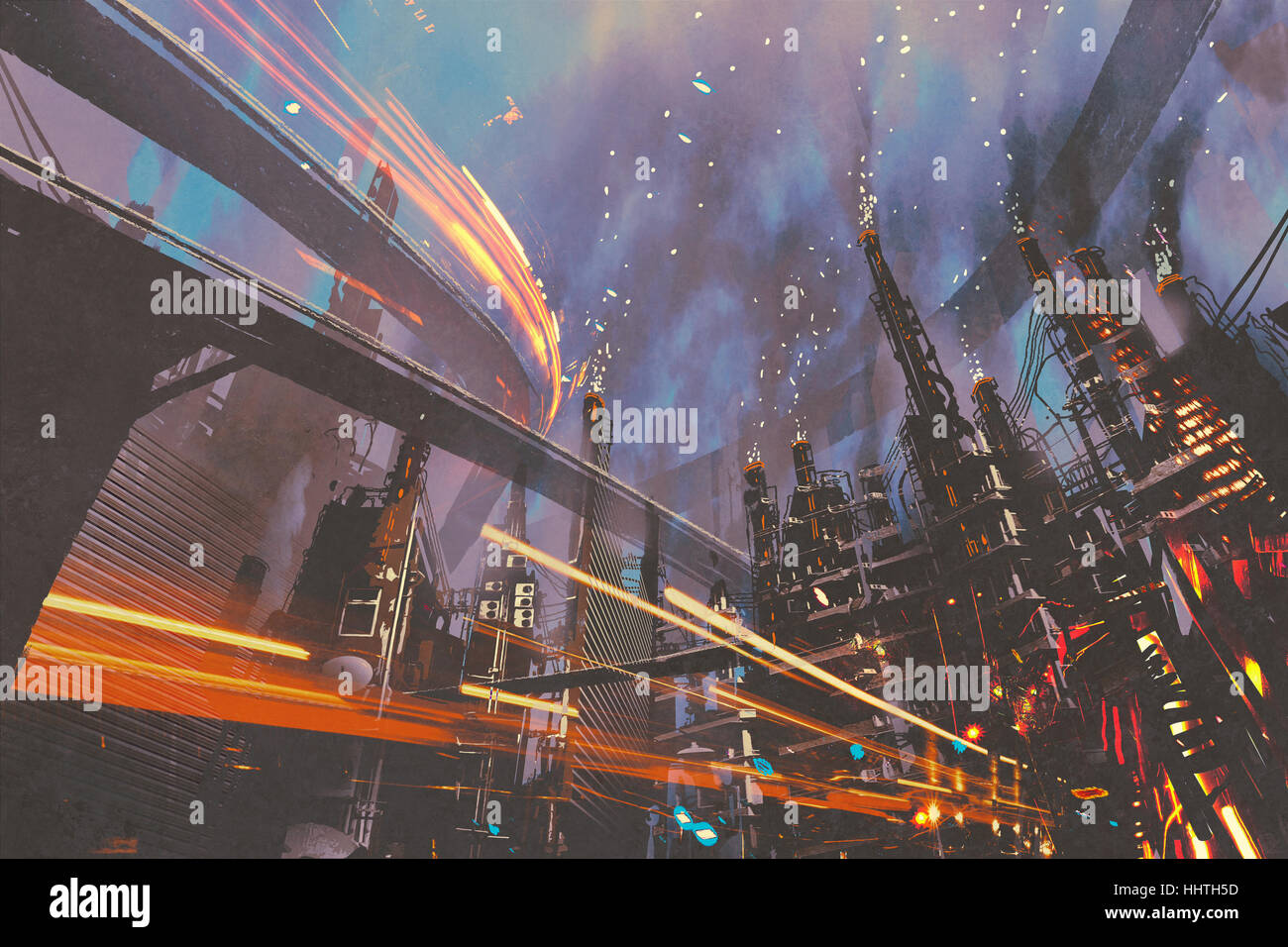 sci-fi scenery of futuristic city with industrial buildings,illustration painting - Stock Image