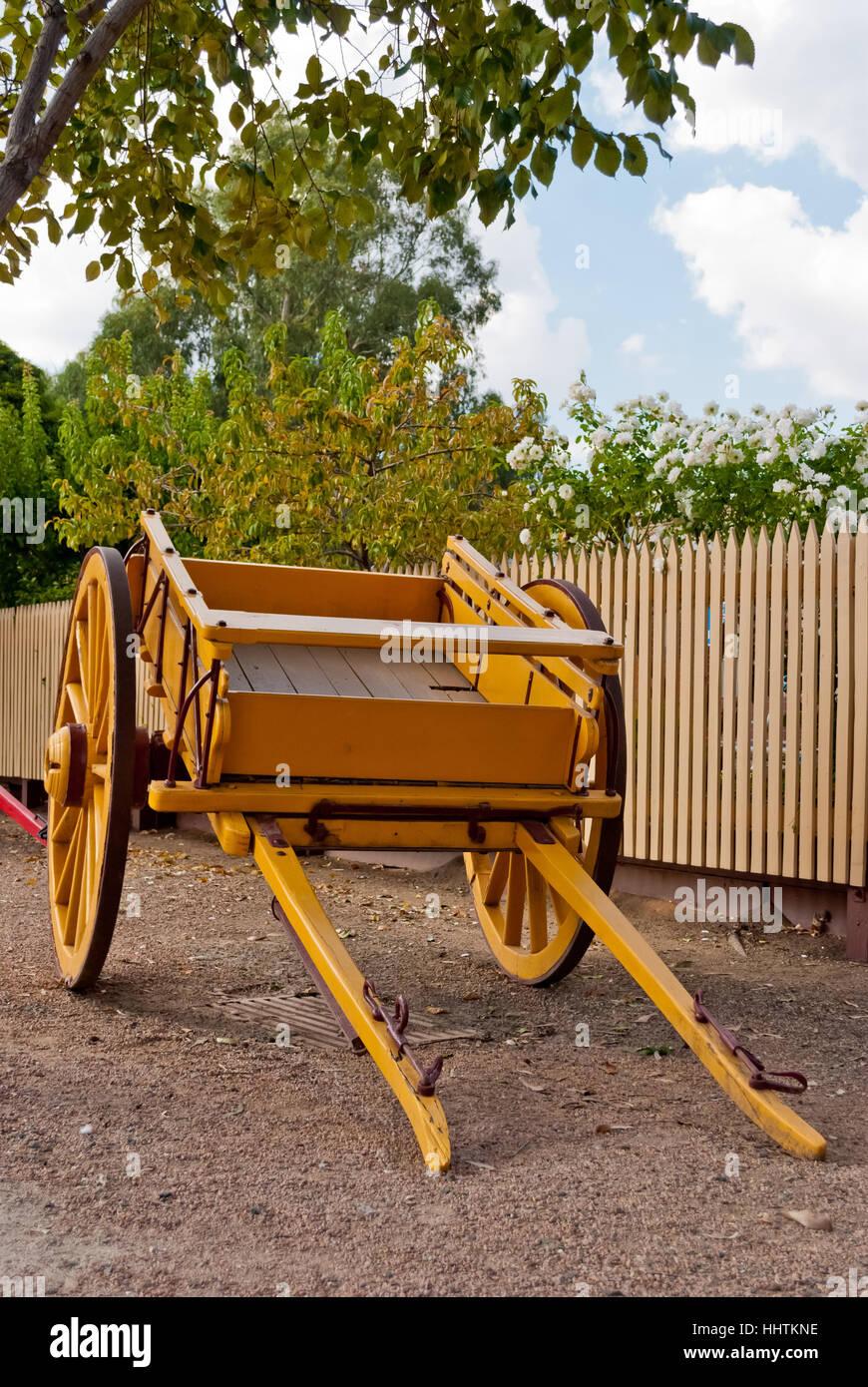 Yellow cart in Echuca historic port, Australia - Stock Image