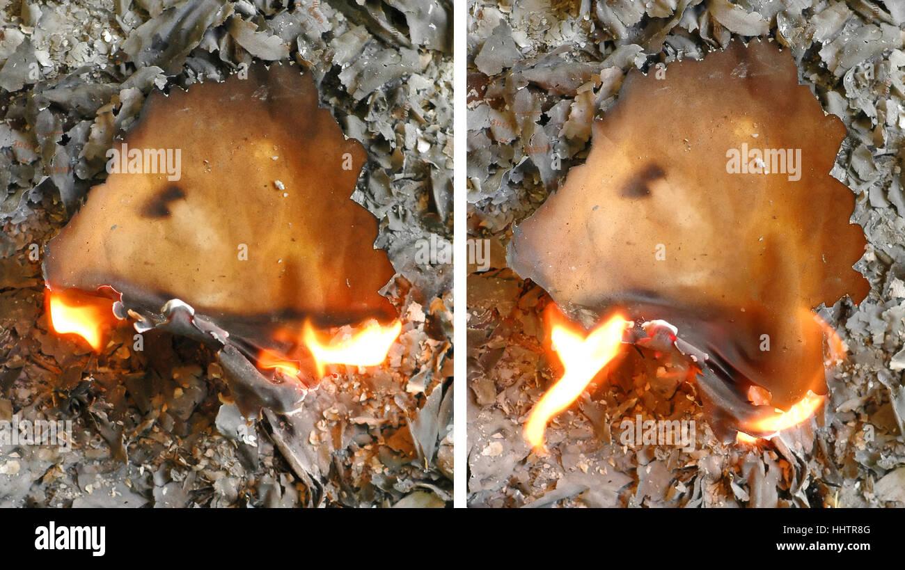 burning, sheet of paper, paper, art, model, design, project, concept, plan, - Stock Image