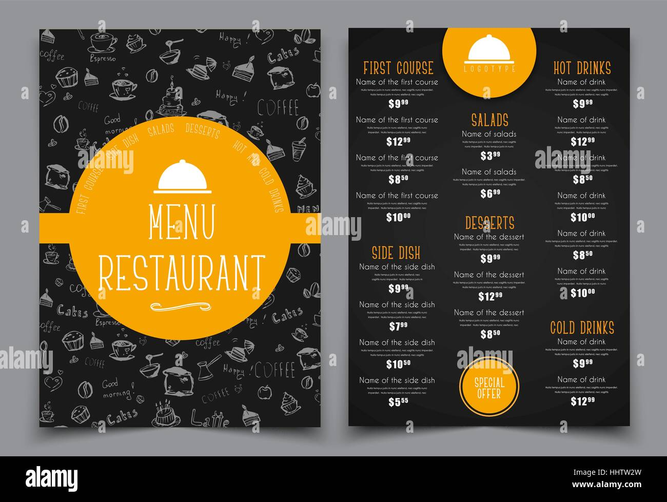 design a menu for a cafe or restaurant templates 2 a4 pages with