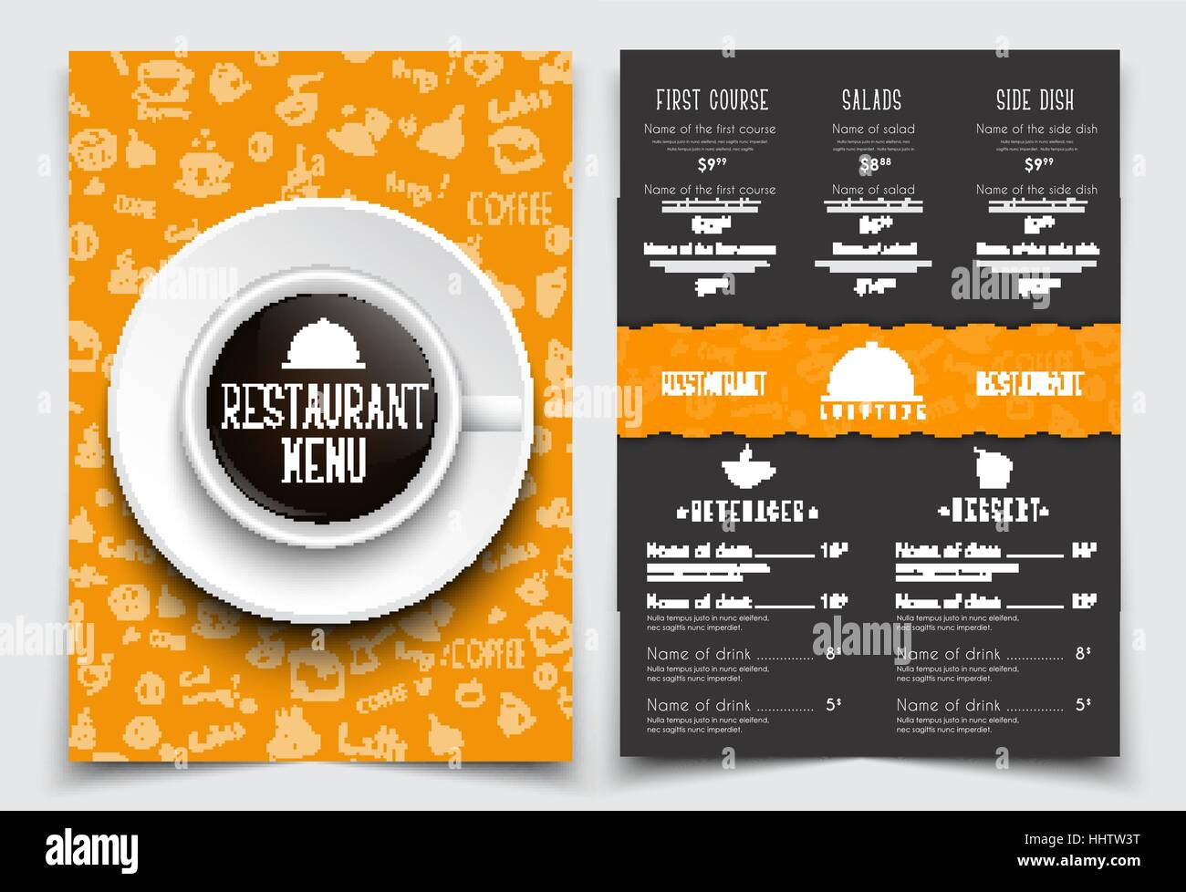 menu design for restaurant or cafe with a cup of black coffee on the