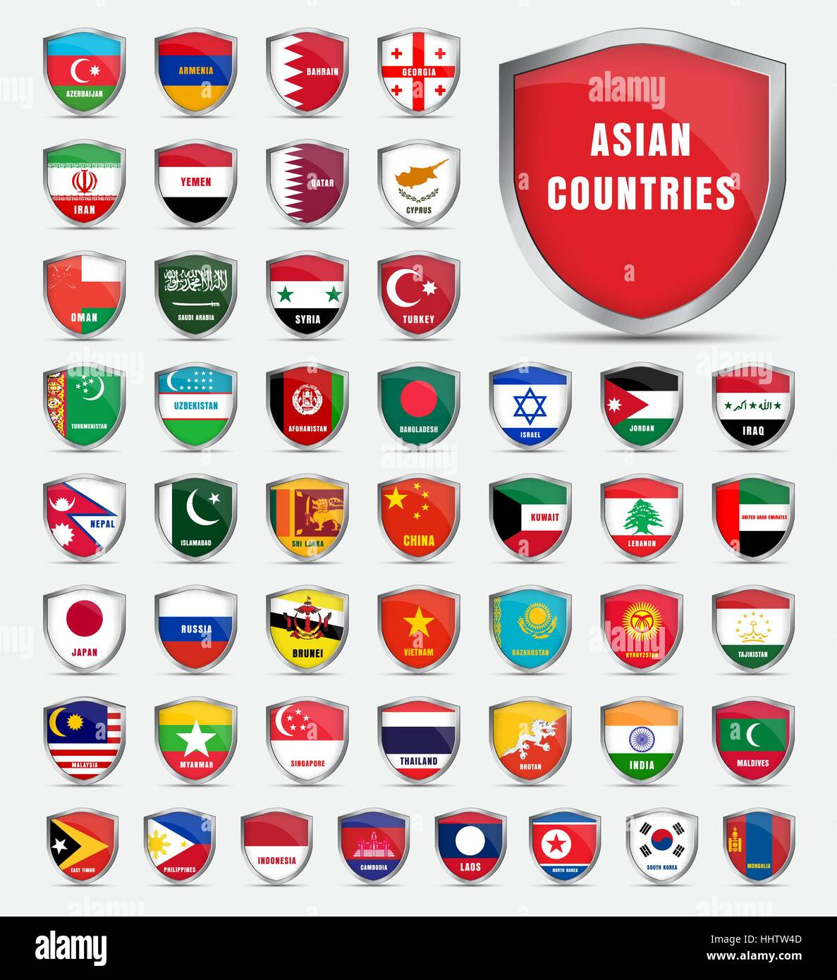 Template of protective boards with flags and the name of the countries of Asian. Vector illustration. Set shields - Stock Vector