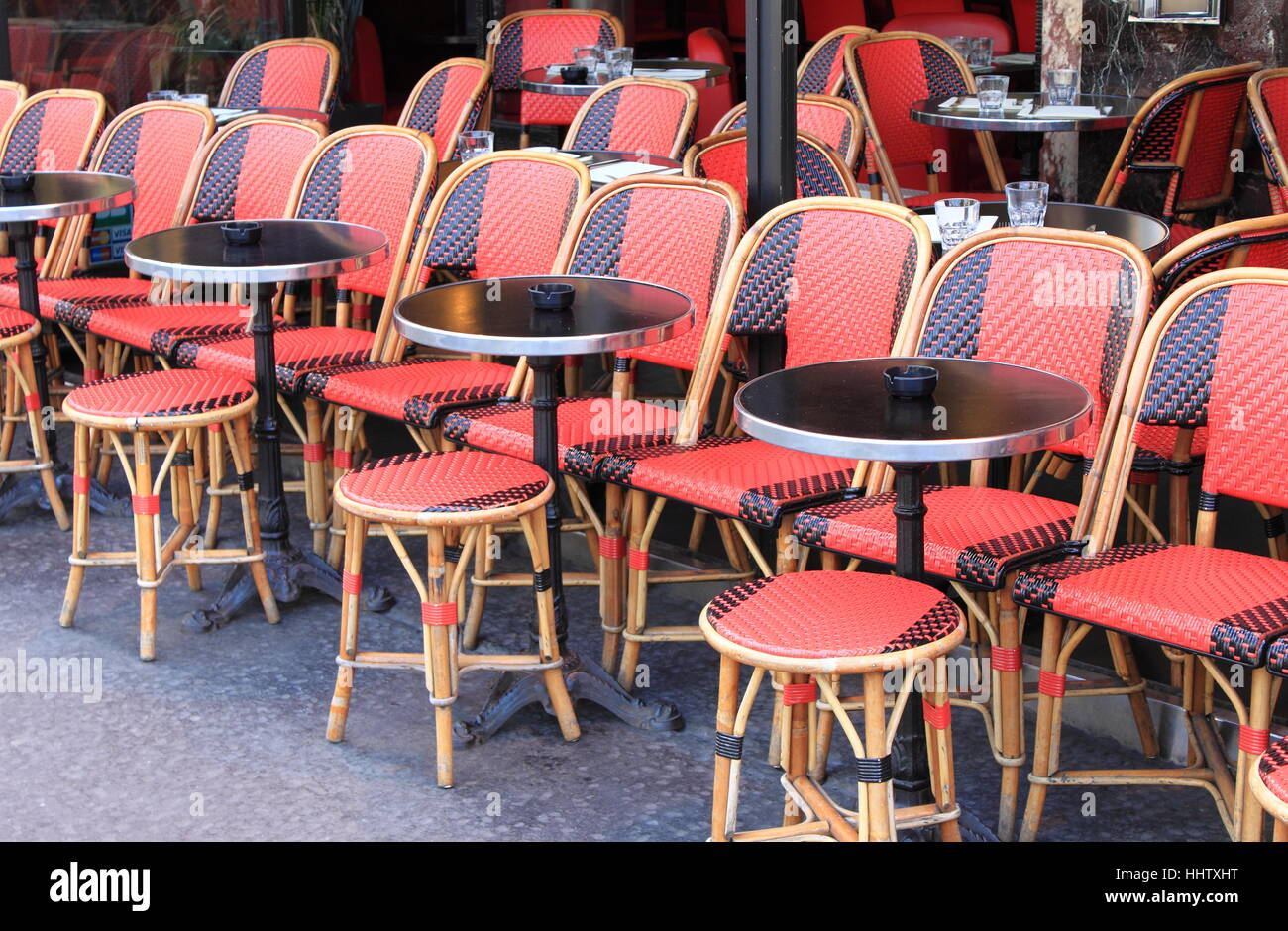 Tables In A Typical Parisian Cafe In Paris France Stock Photo - Paris cafe table