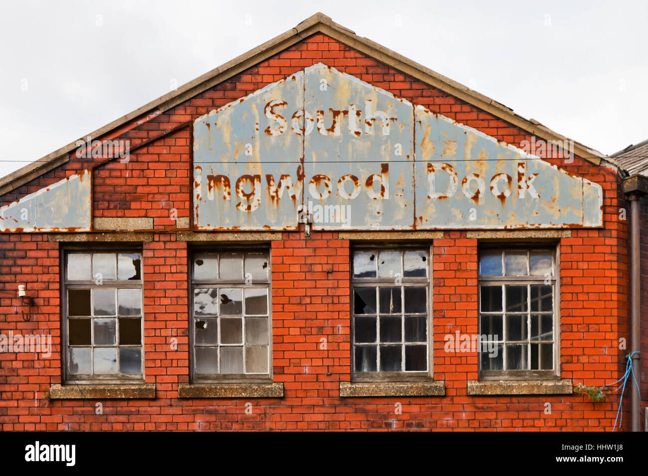 Sign on an industrial building on Collingwood Dock, Liverpool Stock Photo