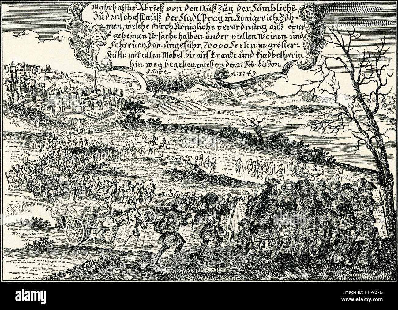 'Exodus of Jews from Prague, 1745. (From a contemporary print.)' - Stock Image