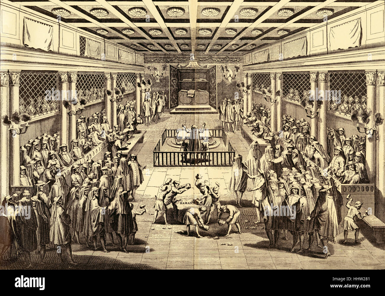 'Purim Ceremonies in the Synagogue at Amsterdam (From the Amsterdam Edition of Calmet Printed in 1731.)' - Stock Image
