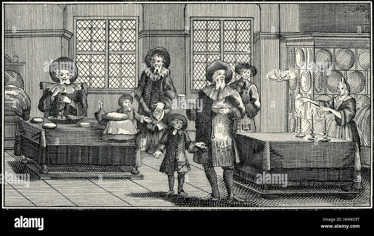 'Sabbath Eve Ceremonies in a German Jewish Home of the Eighteenth Century. (From Kirchner, 'Judisches Ceremonial' - Stock Image