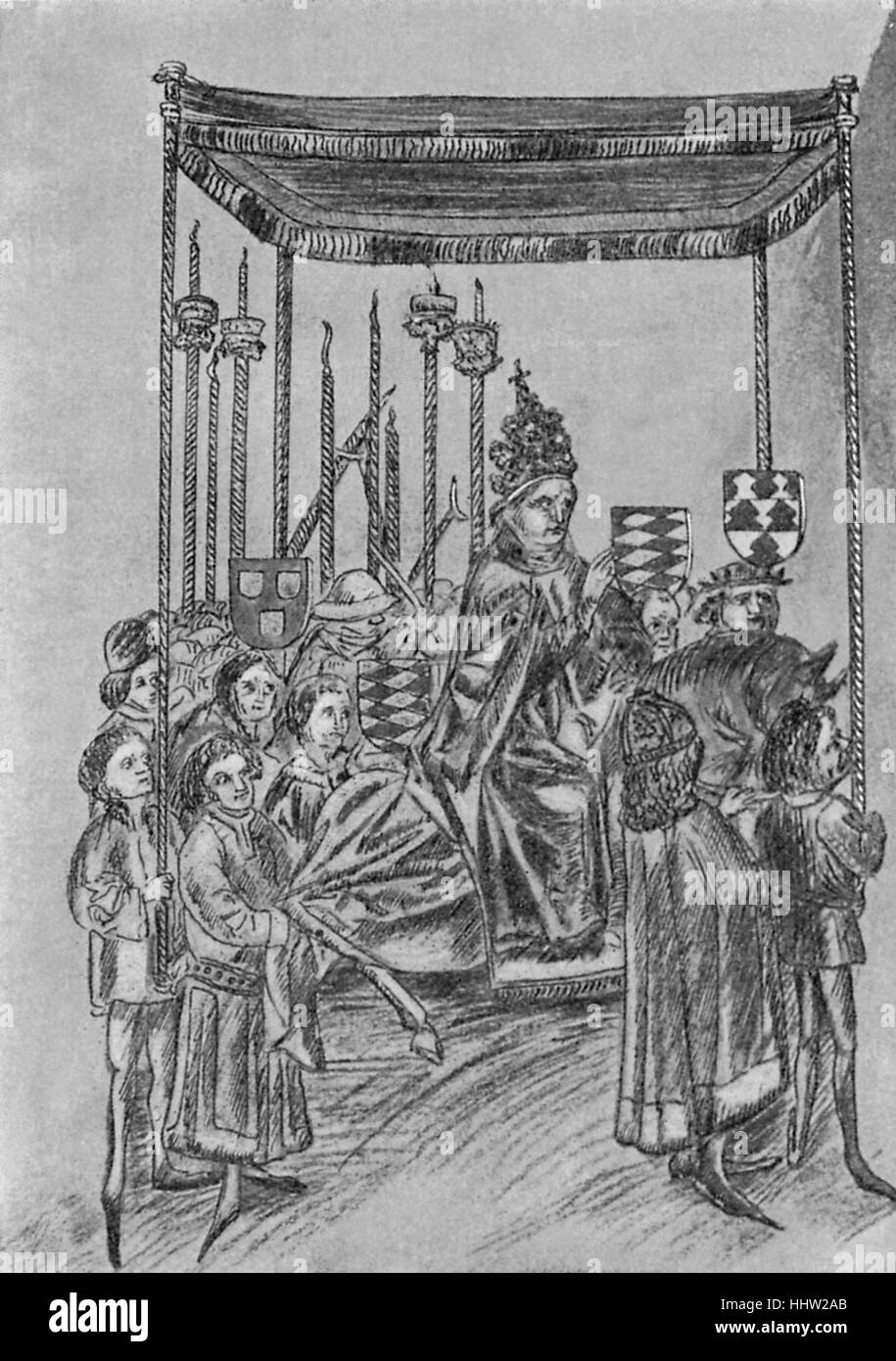 Procession of Jews Meeting Pope Martin V. At the Council of Constance, 1417. From a manuscript chronicle of Ulrich - Stock Image