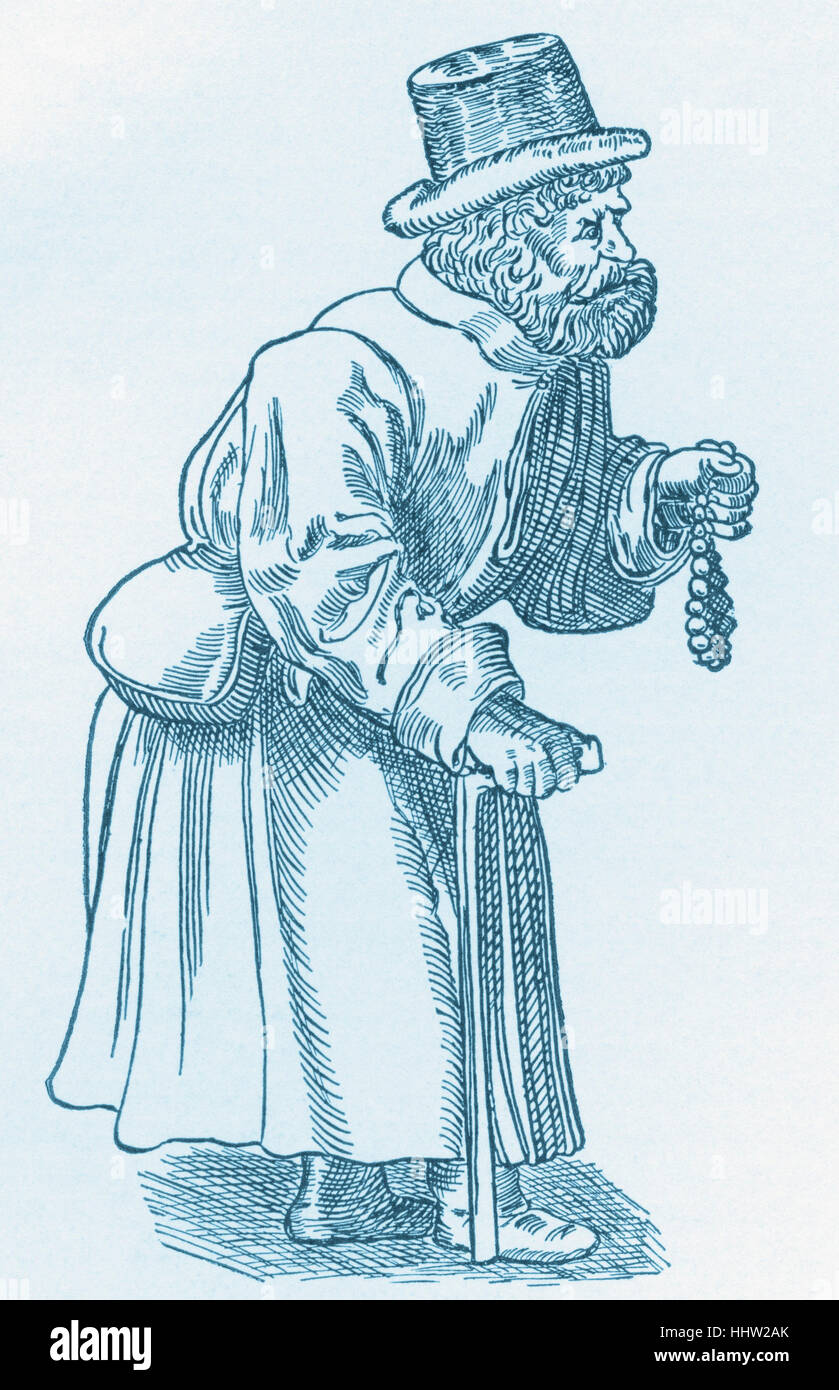 German Jew of the Early Sixteenth Century, after Hans Burgkmair. - Stock Image