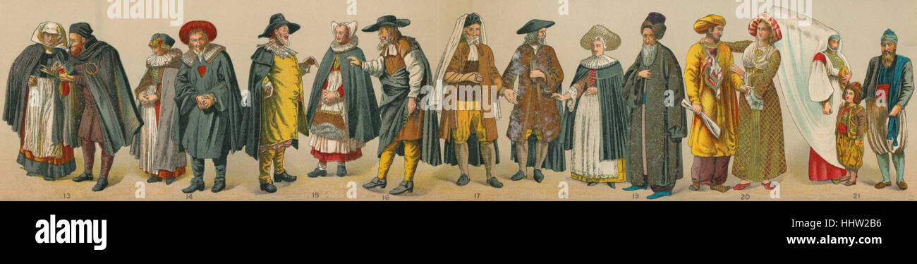 Costumes of Jews II (2/3): 13. Germany (Worms, 16th century); 14. Germany (Nuremberg, 17th - 18th century); 15. - Stock Image