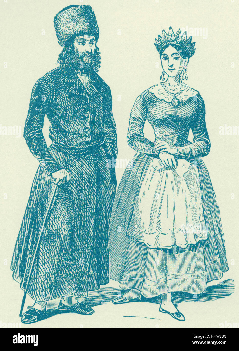 Warsaw Jew and Jewess of the Early Nineteenth Century, from Hollaenderski, 'Les Israelites de Pologne'. - Stock Image
