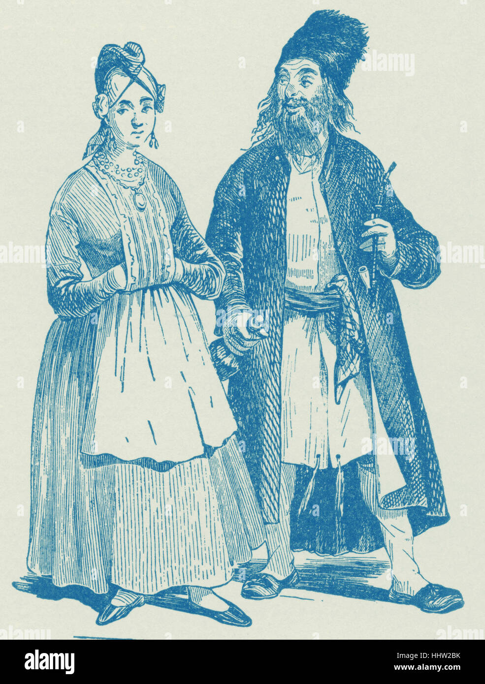 Hassid and Wife of the early nineteenth century, from Hollaenderski, 'Les Israelites de Pologne'. - Stock Image