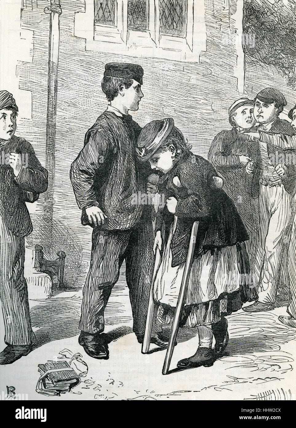 Young boy protects a crippled girl on crutches from a group of accusatory onlookers. After the illustration from - Stock Image
