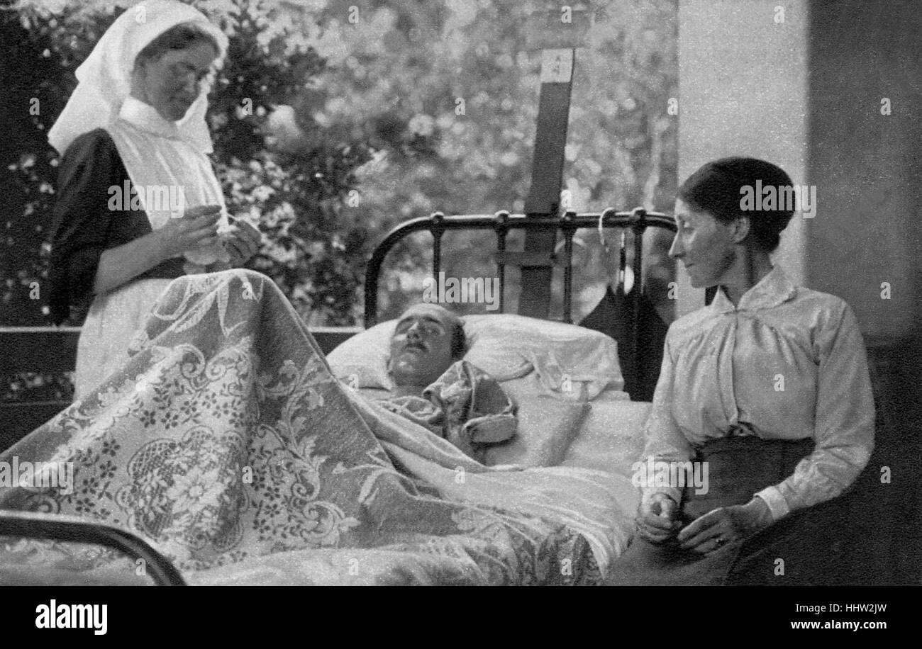 Wounded British soldier is visited by his mother at a French hospital / convalescent home at Le Touquet, France, - Stock Image