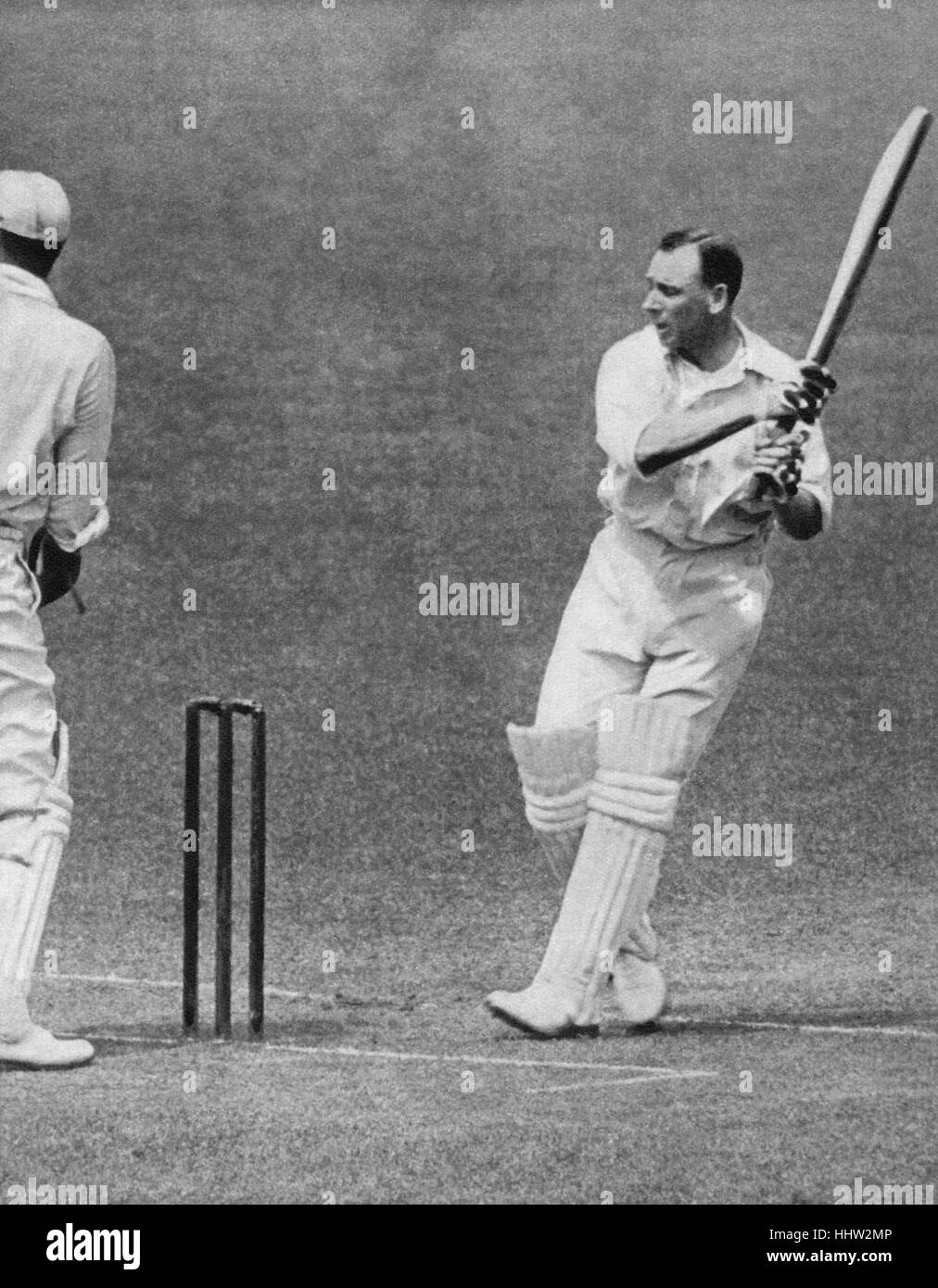 Jack Hobbs (16 December 1882 – 21 December 1963), England cricketer, making his hundredth century in first-class - Stock Image