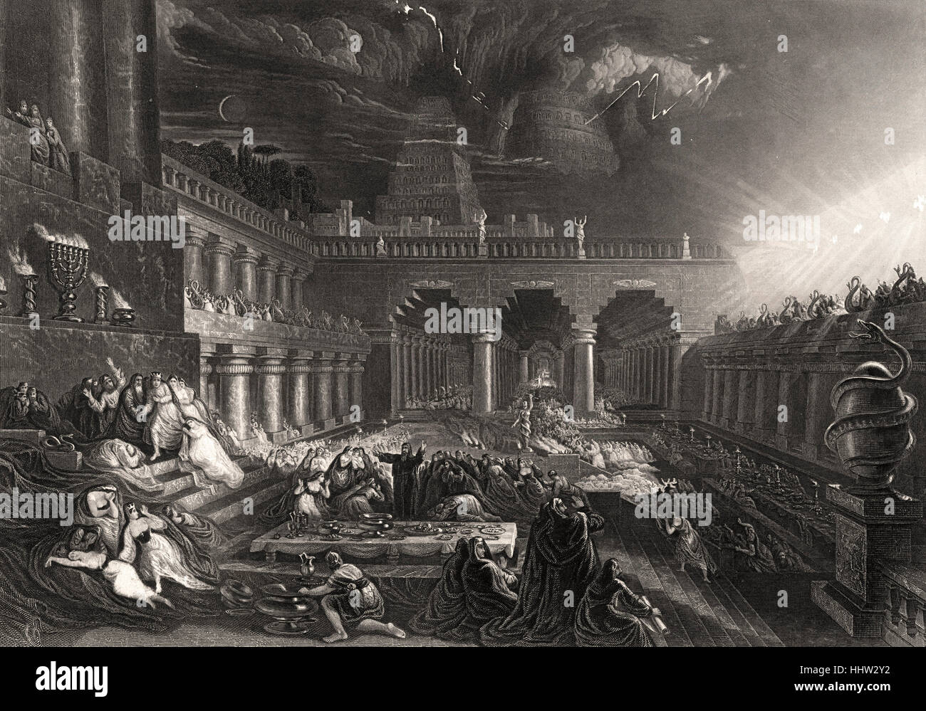 Belshazzar's Feast, Daniel interprets the writing on the wall - Daniel chapter 5 verse 25: 'And this is - Stock Image