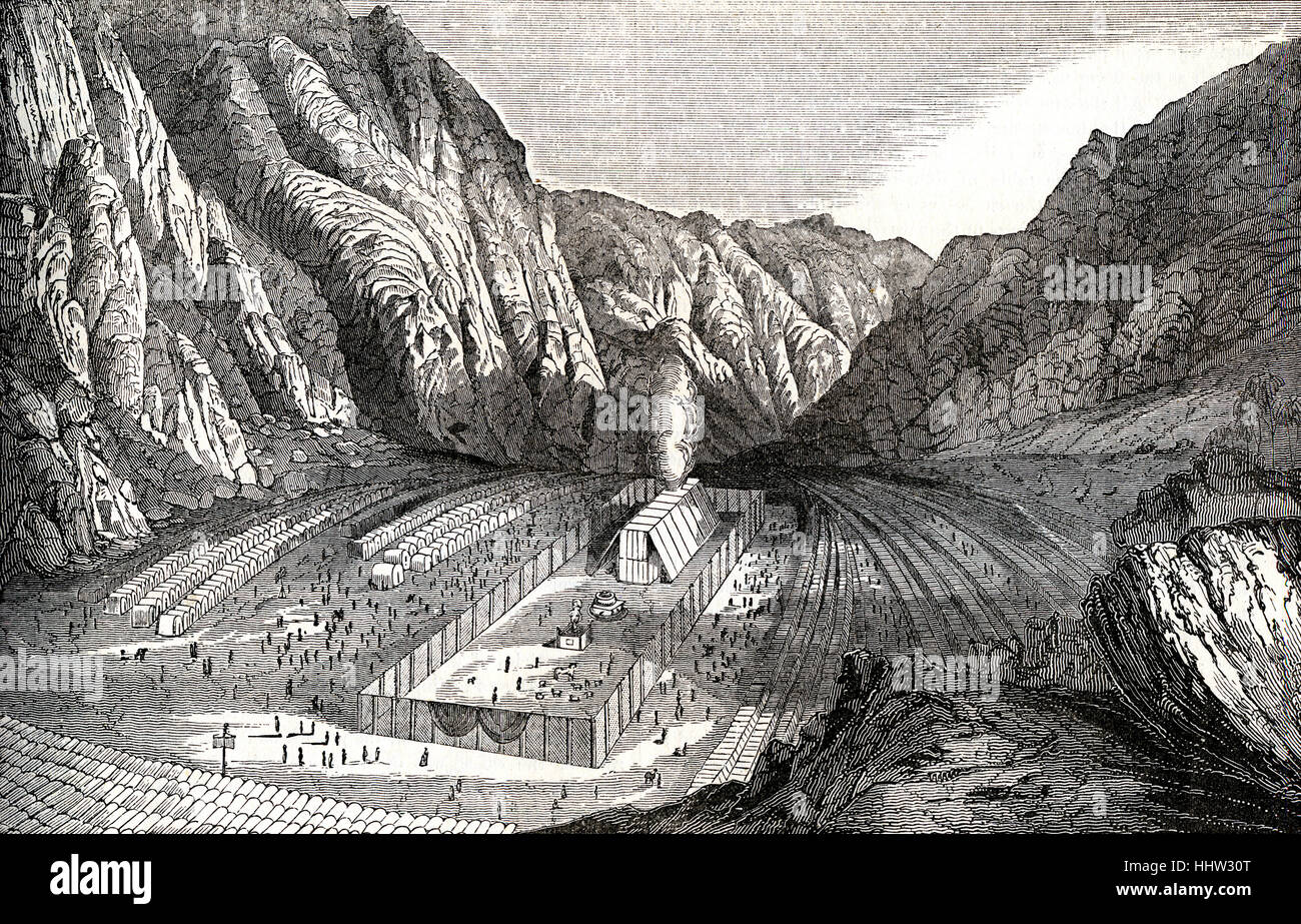 Tabernacle and encampment of Israel in the wilderness, Exodus. 19th century engraving. - Stock Image