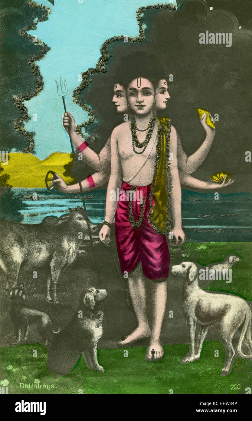Dattatreya, Hindu deity considered to be an avatar of the three gods Brahma, Vishnu and Shiva (Trimurti). Postcard, - Stock Image
