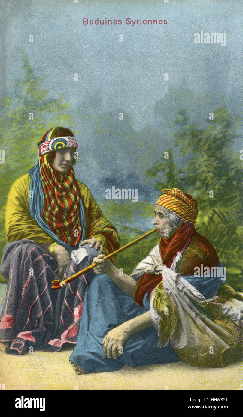 Syrian bedouin women. 20th century postcard. - Stock Image