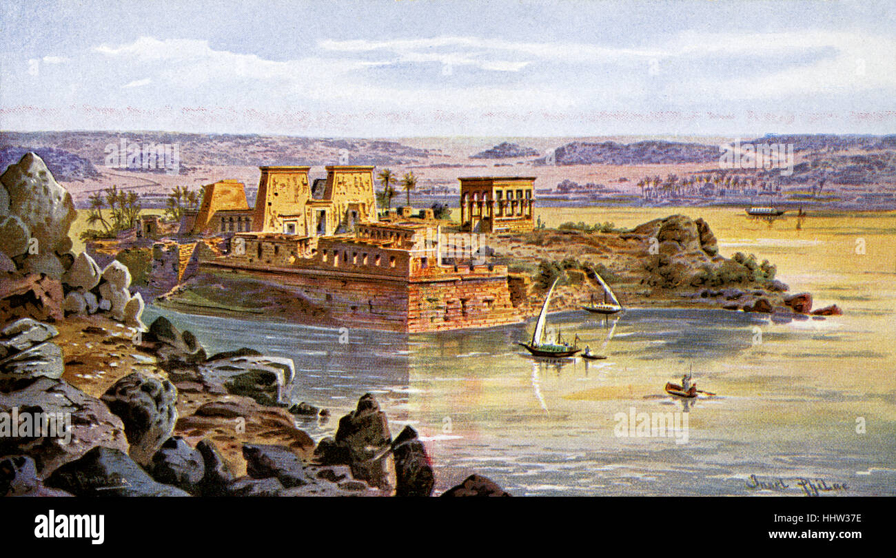 Island of Philae, Egypt. Temple of Isis Stock Photo