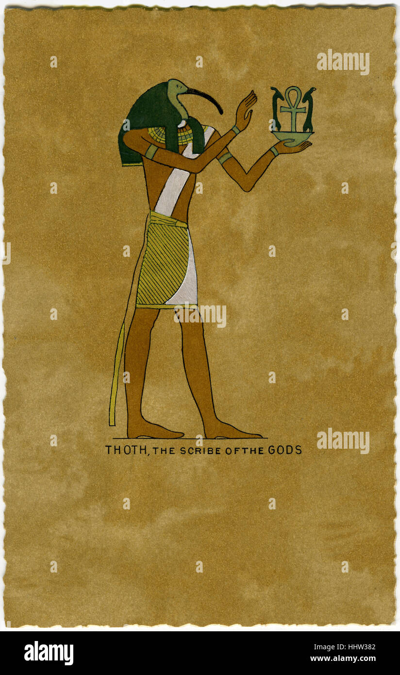 Thoth, scribe of the gods - ancient Egyptian art / heiroglyphics. - Stock Image