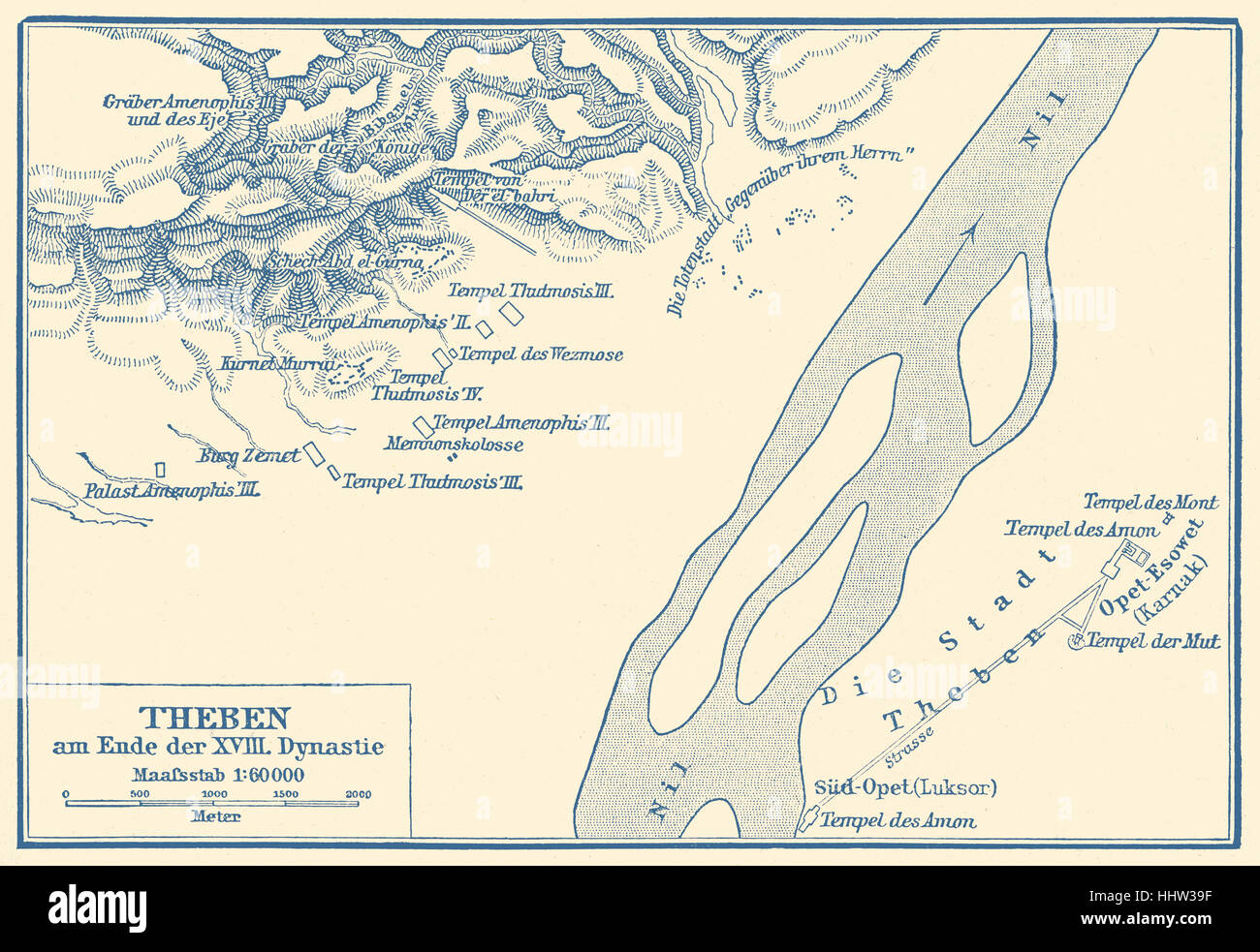 Map of Thebes at the end of the 18th Dynasty.   Tomb of Nakht. Nakht - scribe who held the title 'Astronomer - Stock Image