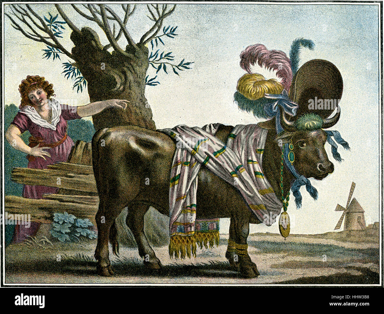 The fashion ox - anonymous French caricature satirising 19th century fashion, depicting a cow wearing a large hat, Stock Photo