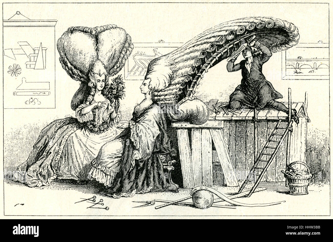 18th century French caricature satirising the fashion for enormous wigs.  1785.