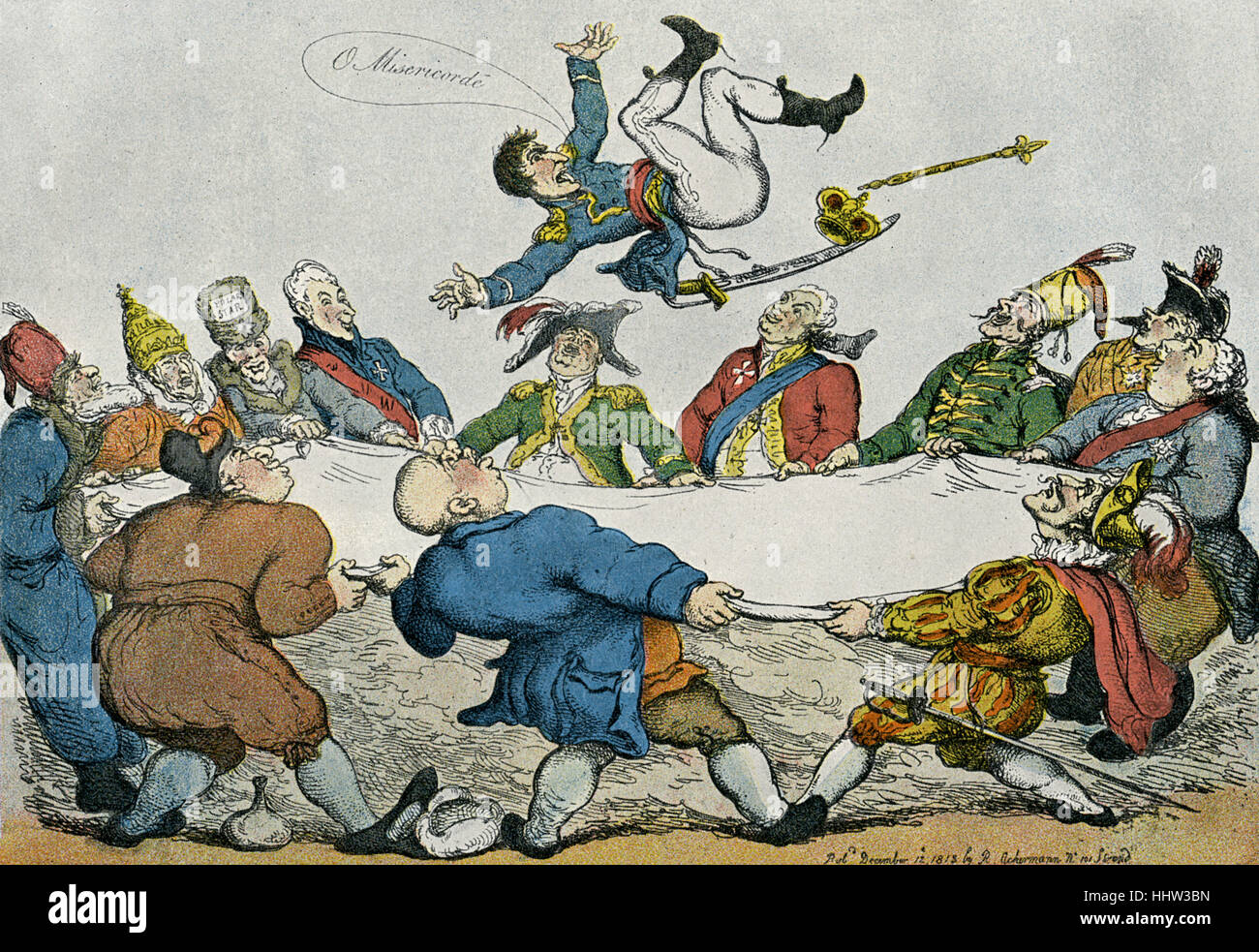 Napoleon Bonaparte, 1813 caricature by Thomas Rowlandson. Caption reads: 'Friends and foes, up he goes. Sending - Stock Image