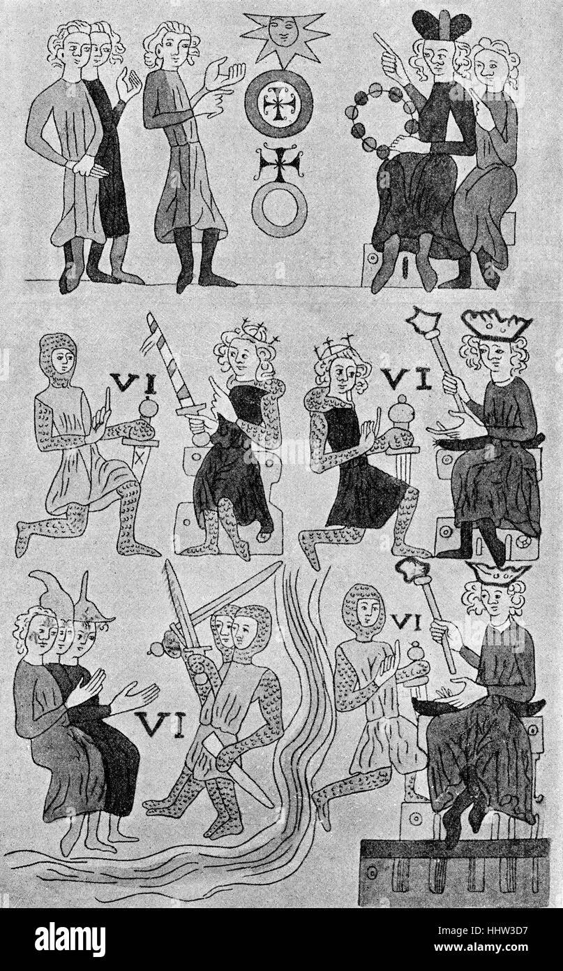 A page demonstrating feudal law (lehnrecht) from the earliest known manuscript of the Sachsenspiegel, the most important - Stock Image