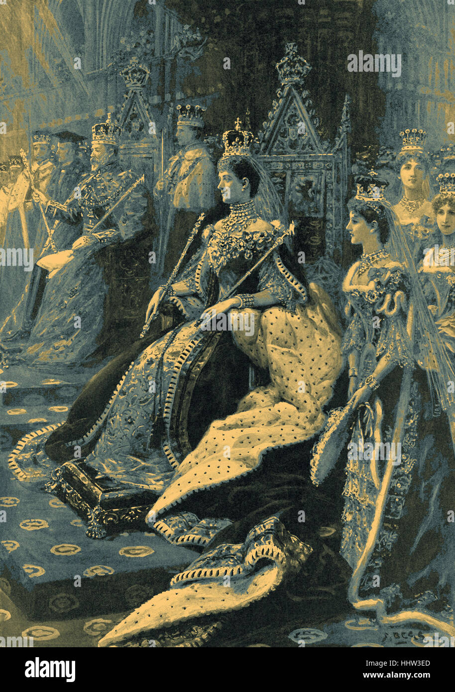 Enthronement of Alexandra as Queen Consort at the coronation of King Edward VII, 1902 - Stock Image