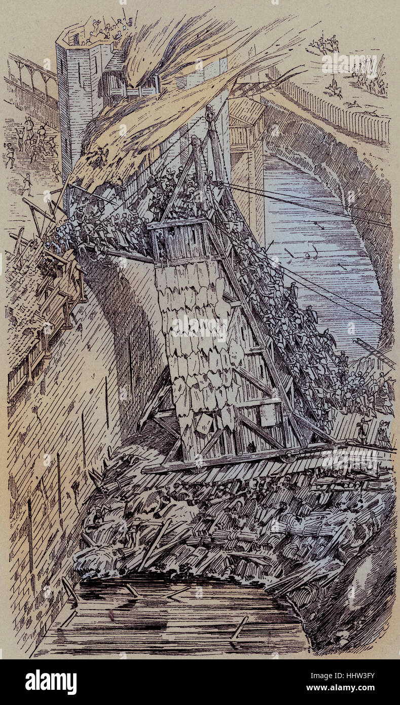Besieged city, depiction demonstrating the use of a siege tower to scale a castle wall, 12th century Germany - Stock Image