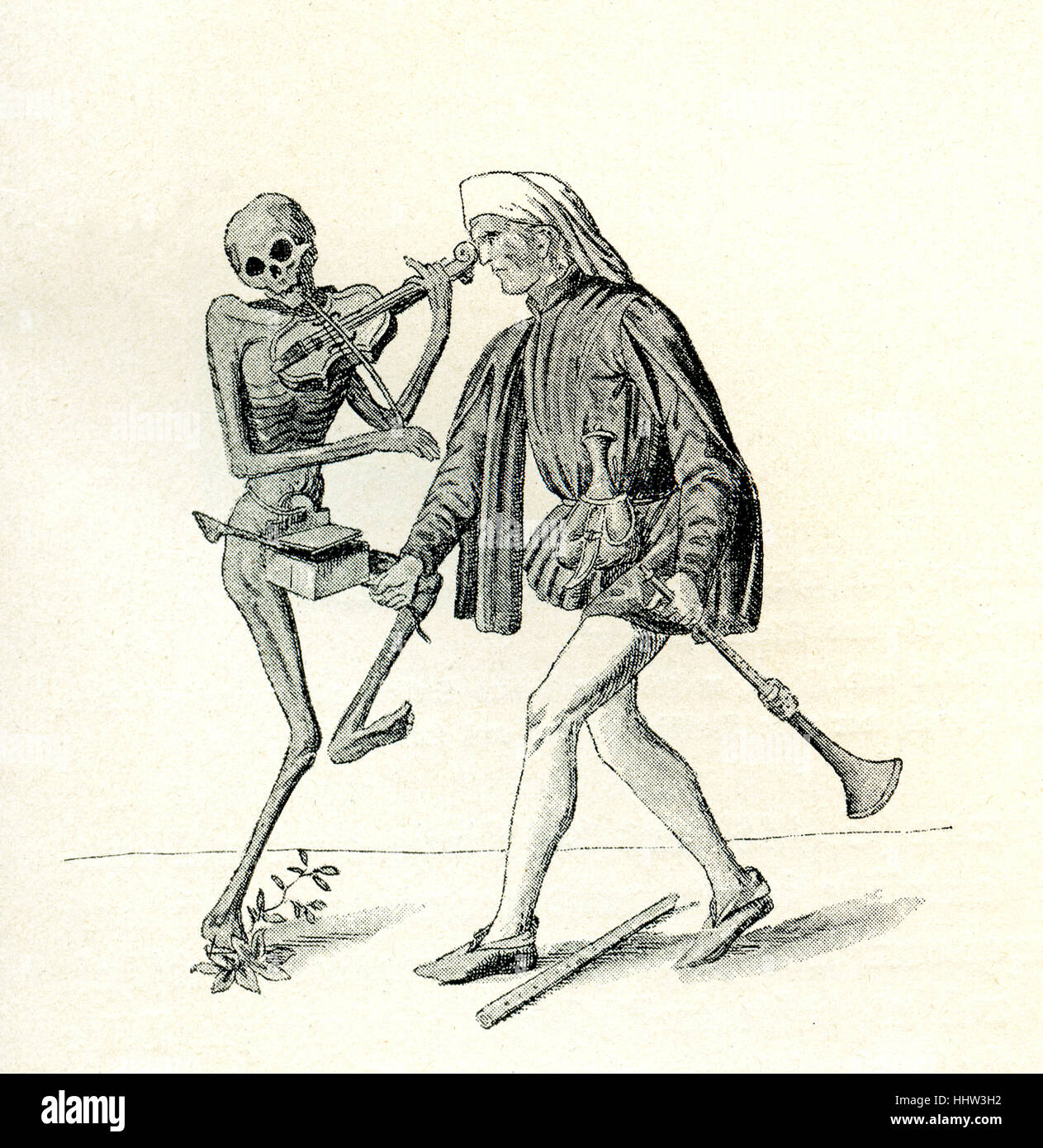 Dance of Death / Totentanz - detail of the memento mori mural painted on the wall of the cemetary of the Predigerkirche - Stock Image