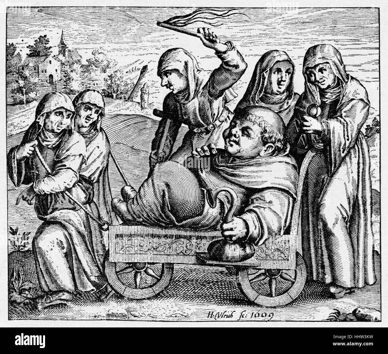Reformation era caricature, 1609, allegorical depiction of monk's insobriety - Stock Image