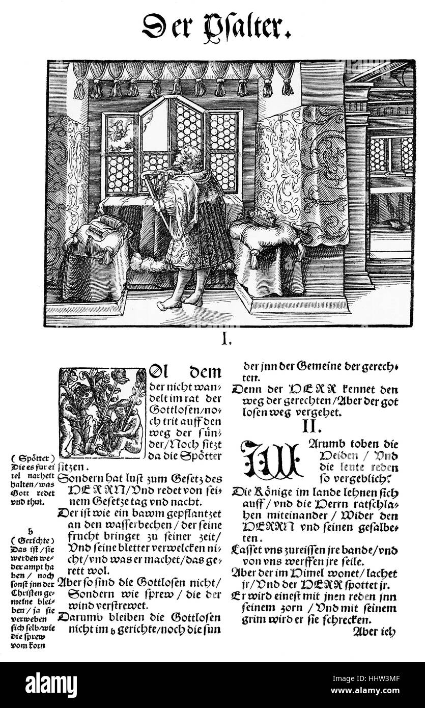First page of the Book of Psalms in Martin Luther's translation of the Bible, first edition published in Wittenberg Stock Photo