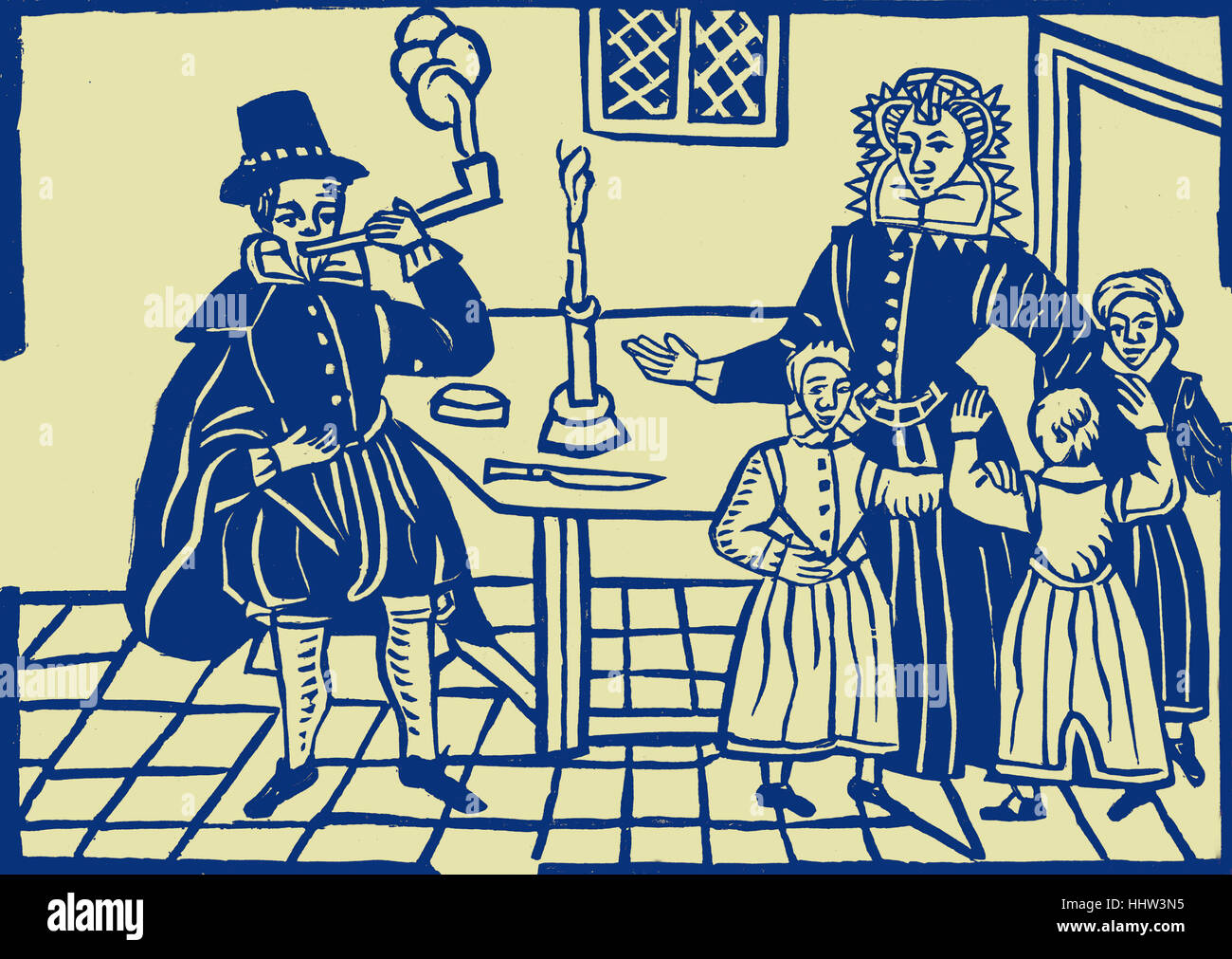 A family group of the time of James I, taken from a ballad in the Roxburghe Collection in the British Library. The - Stock Image
