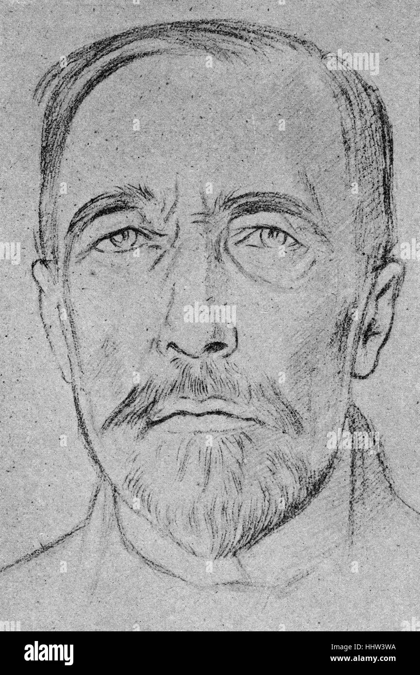 Joseph Conrad - Polish-born English novelist: 3 December 1857 – 3 August 1924.  After an etching by William Rothenstein: - Stock Image