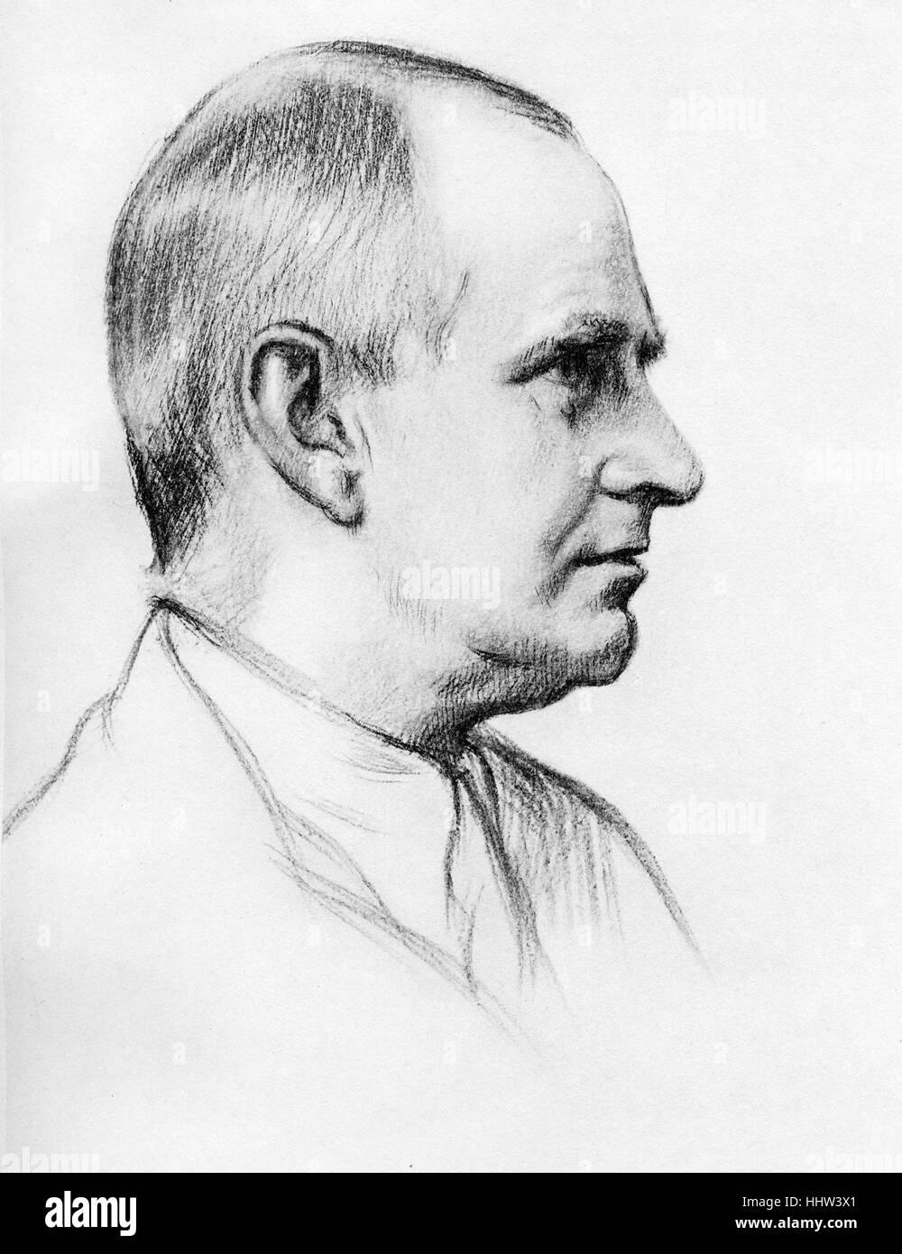 Sir Arthur Stanley Eddington, (28 December 1882 – 22 November 1944  English astrophysicist.  After a drawing by - Stock Image