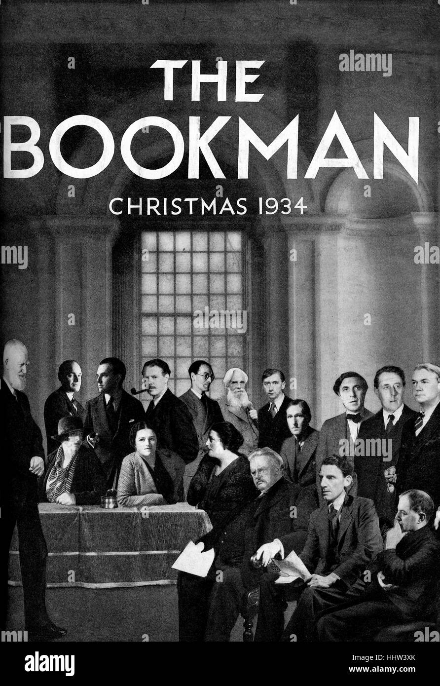 1930s literary figures on the cover of 'The Bookman' Christmas 1934.  Caption reads: 'A literary collection - Stock Image