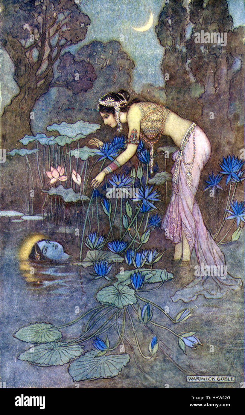 Indian myth and legend: Sita finds Rama among lotus blooms. Illustration after a painting by Warwick Goble, English - Stock Image
