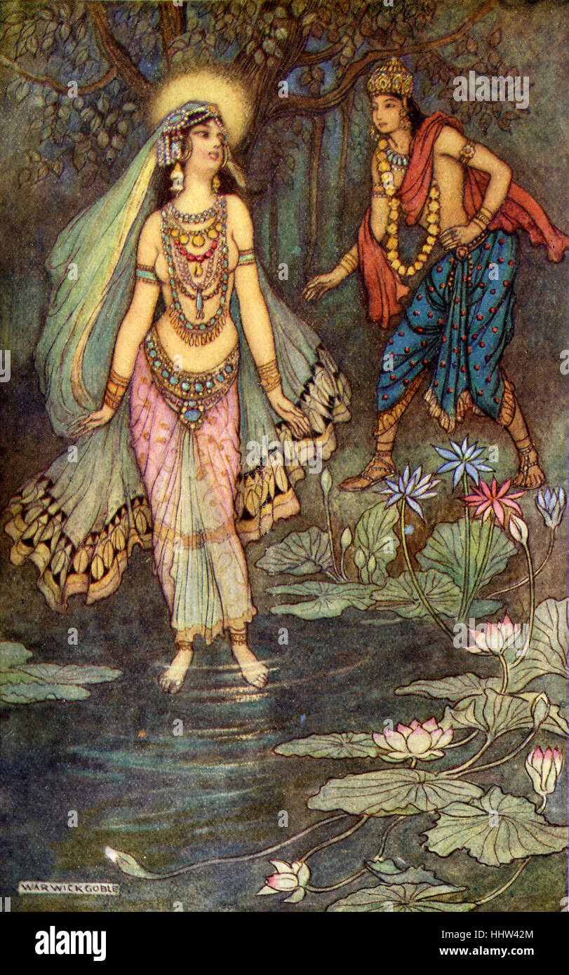 Indian myth and legend: Shantanu meets the goddess Ganga. Illustration after a painting by Warwick Goble, English - Stock Image