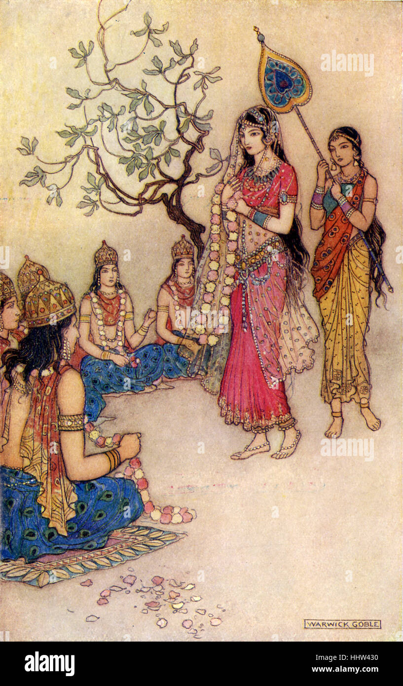 Indian myth and legend: Damayanti choosing a husband. Illustration after a painting by Warwick Goble, English illustrator - Stock Image