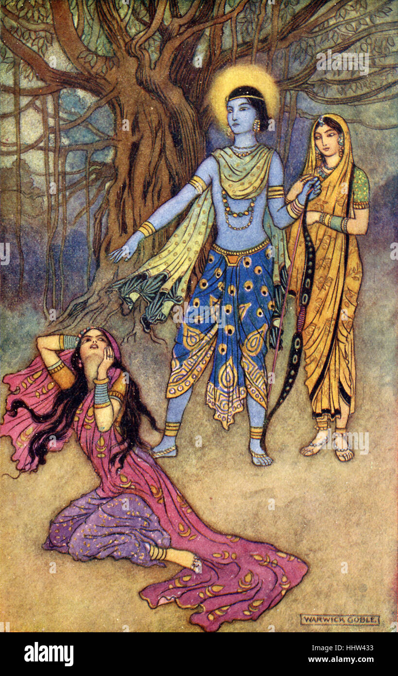 Indian myth and legend: Rama spurns the demon lover. Illustration after a painting by Warwick Goble, English illustrator - Stock Image
