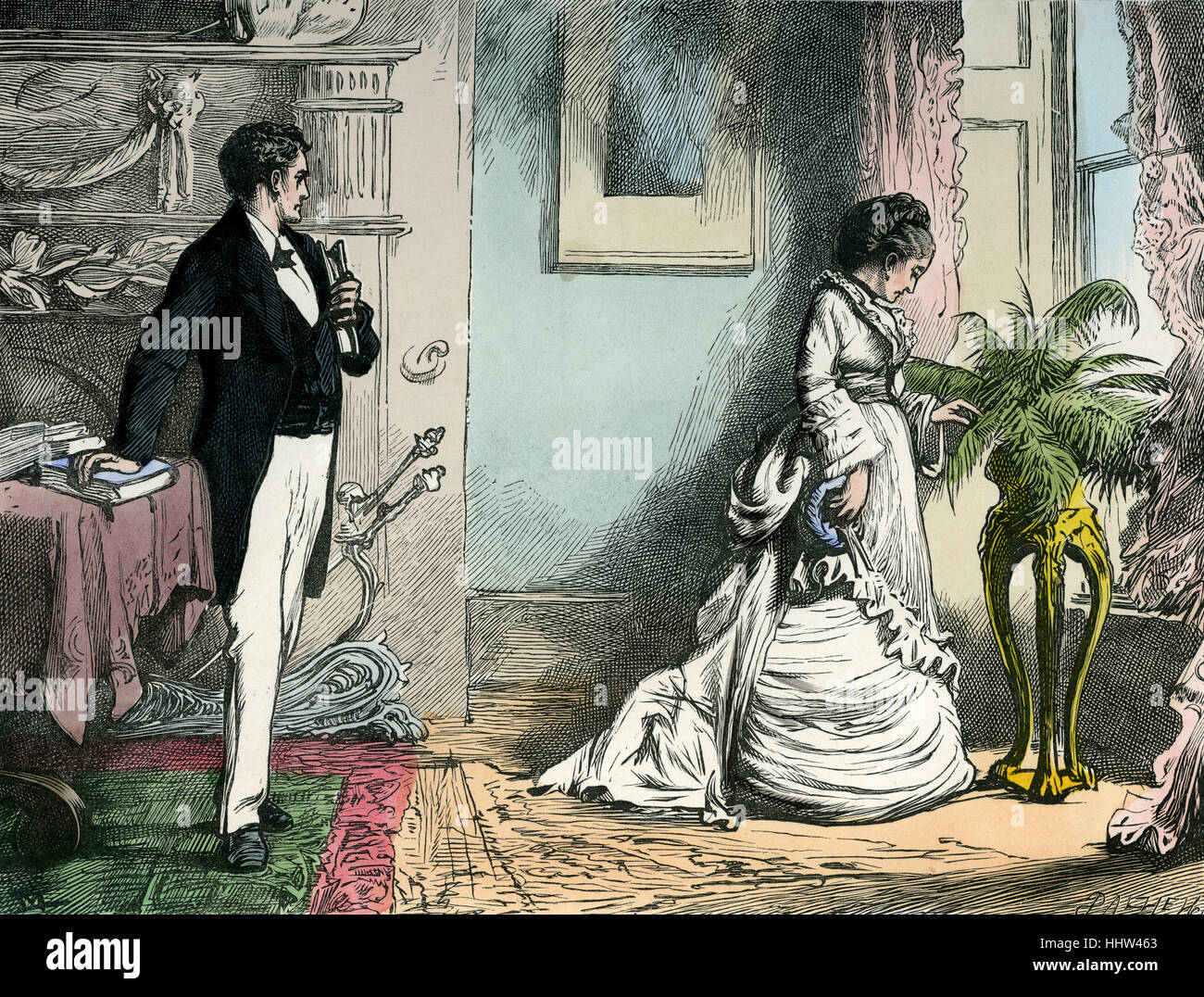 Our Mutual Friend by Charles Dickens.   Caption reads:   ''You never charge me, Miss Wilfer,' said the - Stock Image